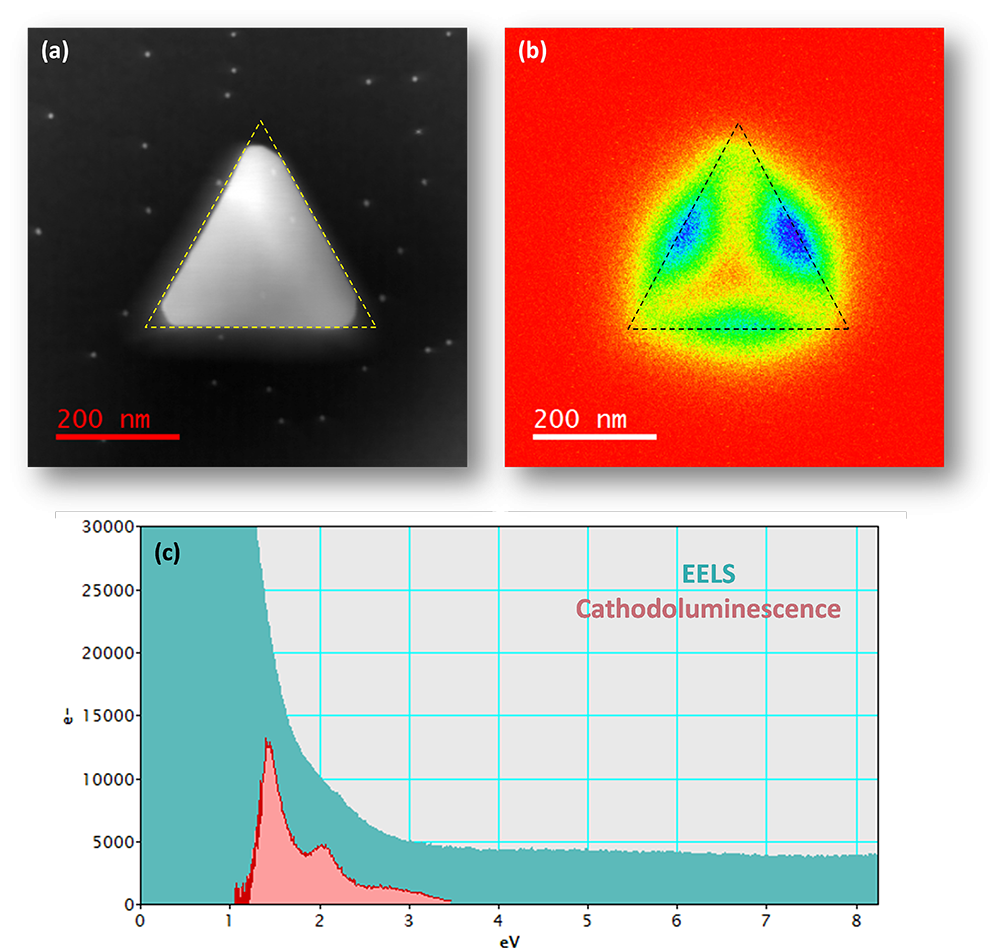 Cathodoluminescence and EELS analysis of plasmonic nanoparticles