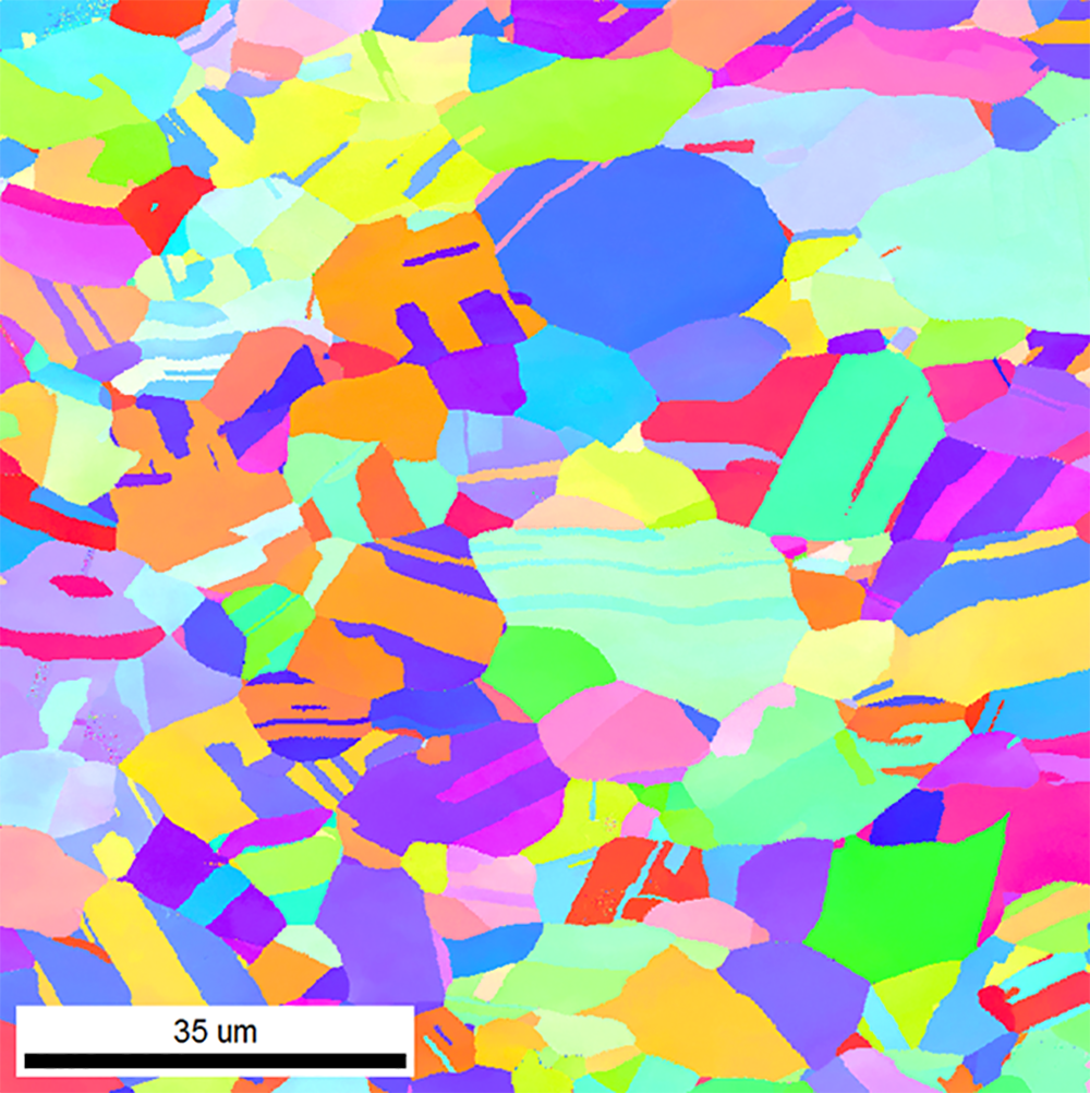 EBSD inverse pole figure map of copper sample