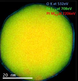 EELS color map of a Pt/Fe catalyst nanoparticle