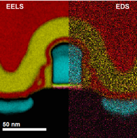 Fast joint EELS / EDS color map across a 32 nm transistor device