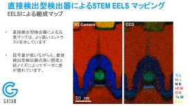 エネルギー損失分光法のデータ取得における直接検出型検出器のアドバンテージ