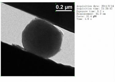 二氧化硅非晶纳米颗粒的纳米压痕原位实验