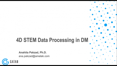 NUANCE Workshop on 4D STEM: Data Processing in DM