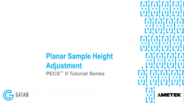 Planar sample height adjustment with the PECS II