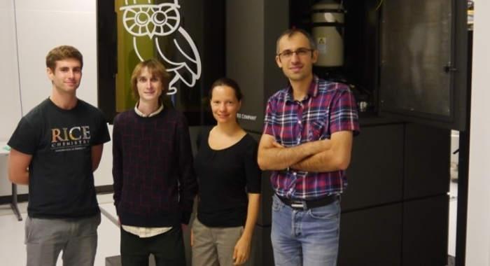 TEM team & collaborators from left to right: Dayne Swearer, Rowan Leary, Emilie Ringe, and Sadegh Yazdi.