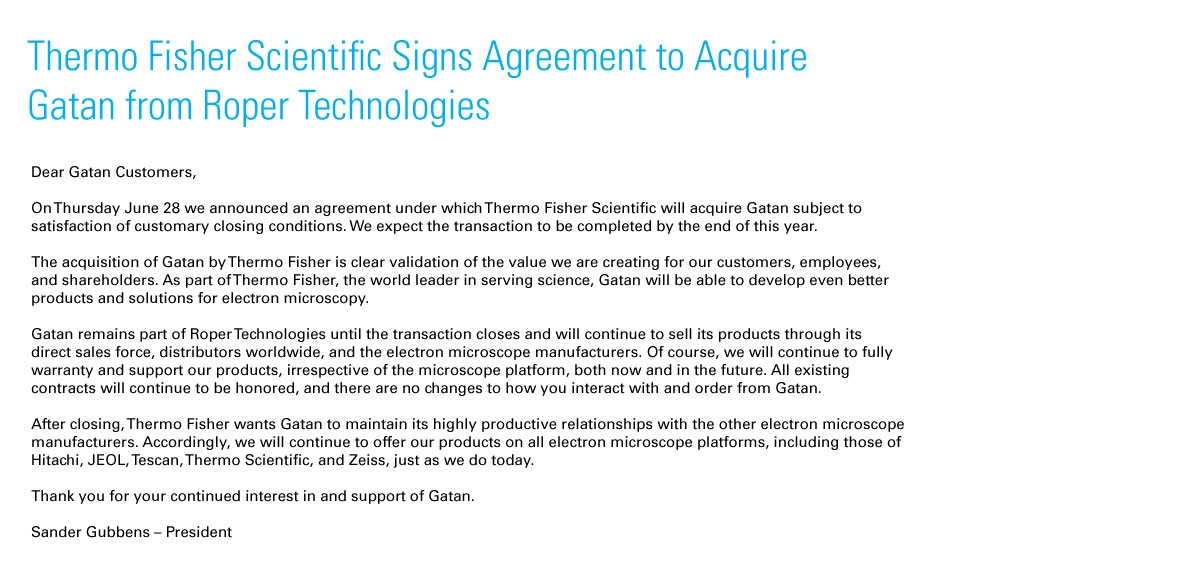 Acquisition of Gatan by Thermo Fisher
